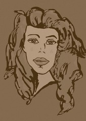 Woman sketch vintage