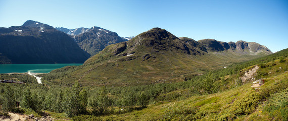 High resolution Besseggen Ridge panoramic view in Jotunheimen Na