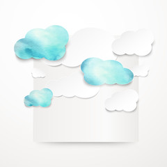 Watercolor rainy clouds.