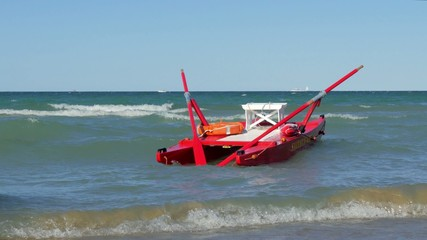 typical red rescue boat, Rimini, Italy