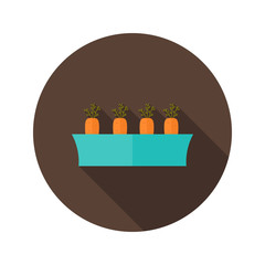 Pot with carrots flat icon