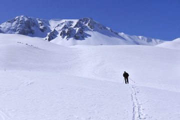 Trekking in high mountain