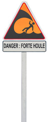 panneau attention danger forte houle bord de mer