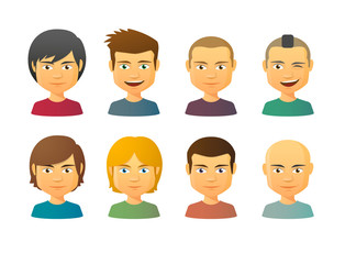 Male avatars with various hair styles