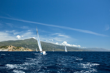 Luxury Yachts. Sailboats participate in sailing regatta.
