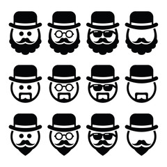 Man in hat with beard and glasses icons set