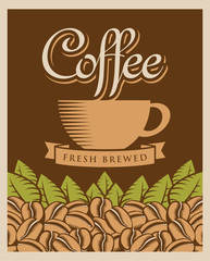 retro banner with coffee cup and beans