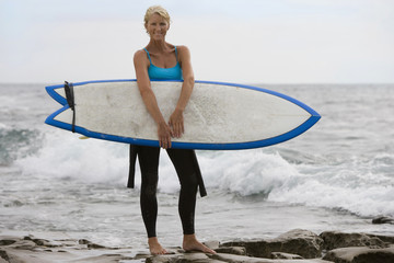 Female surfer in wetsuit with surfboard by sea, portrait