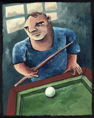 In the pool. Illustration made with acrylic of a pool player