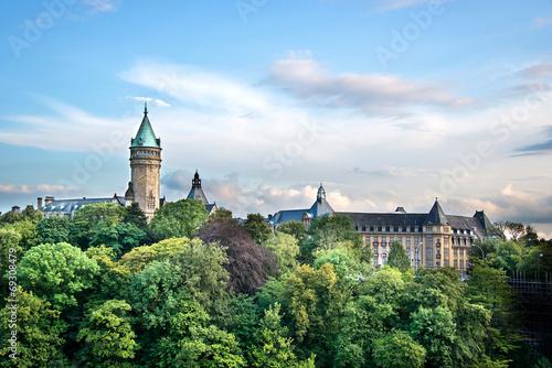 Leinwanddruck Bild View of the State Savings bank, Luxembourg