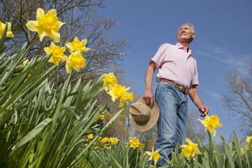 Smiling man holding hat in sunny daffodil field