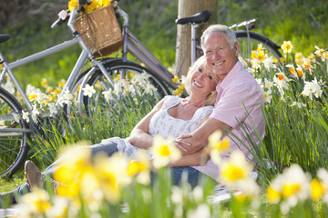 Portrait of smiling senior couple relaxing on blanket in sunny daffodil field