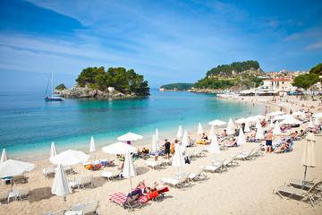 Beautiful city beach on Ionian Sea in Parga, Greece.