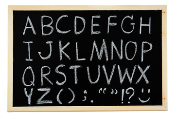 Hand drawn A to Z alphabet blackboard