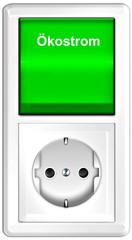 Ökostrom - Lichtschalter mit Steckdose, freigestellt