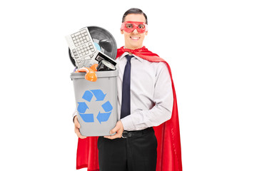 Male superhero recycling his old stuff
