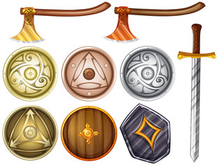 shields and weapons