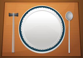 Empty plate on mat