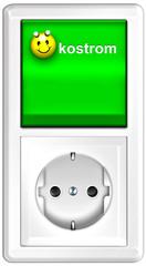 Ökostrom mit Smiley- Lichtschalter mit Steckdose, freigestellt