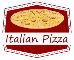 An Italian pizza label