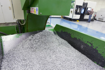 Bin of waste metal from engineering process in factory