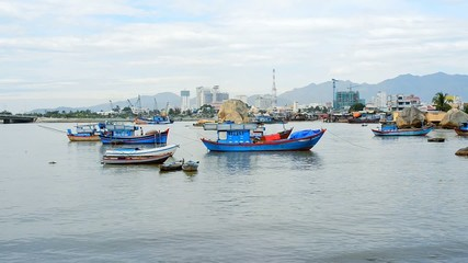 Moored fishing boats in downtown district of Nha Trang