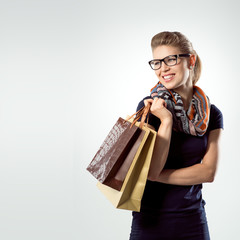 Portrait of spree shopper wearing fashionable clothes