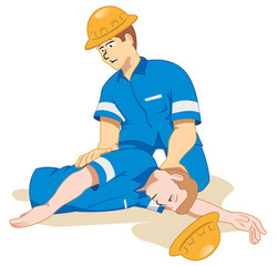 Individual employee fainting being positioned 3