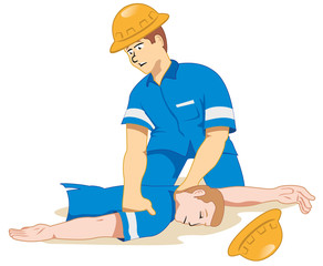 Individual employee fainting being positioned 2