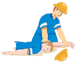 Individual employee fainting being positioned 1