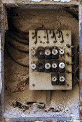 Old electric board in a residential building