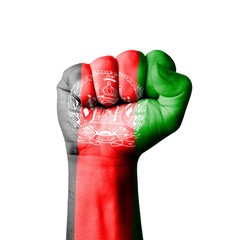 Fist of Afghanistan flag painted