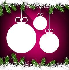 Christmas paper balls on magenta background.