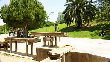 Bomba de agua ornamental, jardines de Joan Brossa, Barcelona