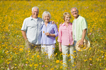 Portrait of smiling couples among wildflowers in sunny meadow