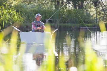 Man fishing from rowboat on lake