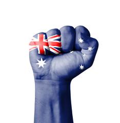 Fist of Australia flag painted