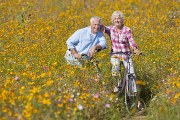 Portrait of happy senior couple riding bicycles in sunny wildflower meadow