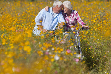 Happy senior couple with bicycles hugging in sunny wildflower meadow