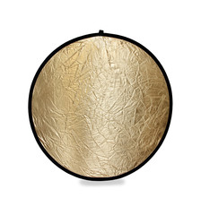 Isolated photo of a photography light reflector in gold