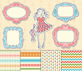 Romantic set of labels, frames and pattern