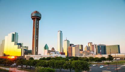 Dallas cityscape in the evening