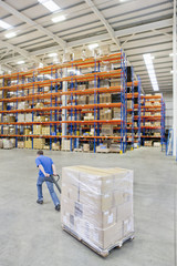 Worker pulling wrapped cardboard boxes on pallet jack in distribution warehouse