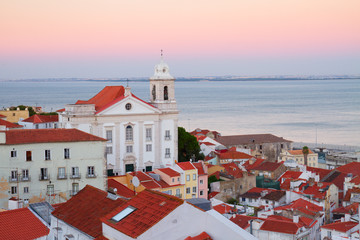 view of Alfama at sunset, Lisbon, Portugal