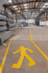 Pedestrian walkway in warehouse