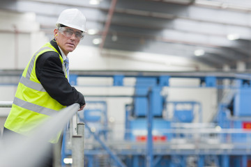 Portrait of serious businessman standing at railing in recycling plant