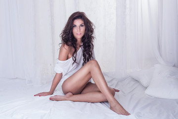 Sensual brunette lady looking at camera