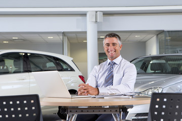 Portrait of smiling salesman at table in car dealership showroom