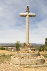 Pilgrim sign at the Camino de Santiago de Compostela in Spain
