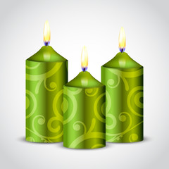 Vector illustration of green candles with decoration